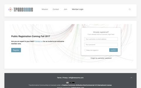 Screenshot of Login Page transformativecommunities.com - Login to the site - TransComs - captured Oct. 27, 2017
