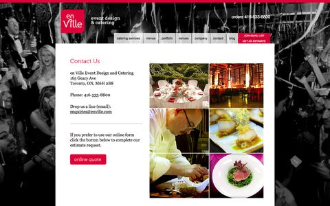 Screenshot of Contact Page enville.com - Contact - en Ville - Toronto catering company. One of the GTA's most celebrated caterers - captured Oct. 3, 2014