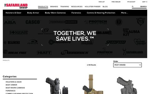 Screenshot of Products Page safariland.com - Law Enforcement Gear | The SAFARILAND Group - captured Sept. 26, 2017