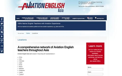 Screenshot of Locations Page aviationenglish.com - Locations | Aviation English Asia - AviationEnglish.com - captured Oct. 4, 2014