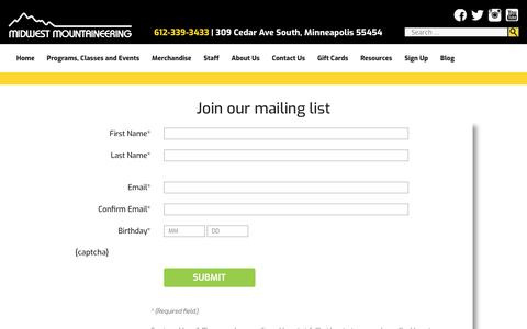 Screenshot of Signup Page midwestmtn.com - Join our mailing list - Midwest Mountaineering - captured Oct. 19, 2018