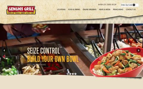 Screenshot of Home Page genghisgrill.com - Genghis Grill - Mongolian BBQ Grill | Stir Fry Mongolian Barbecue Grill | Mongo Restaurant - captured Dec. 8, 2015