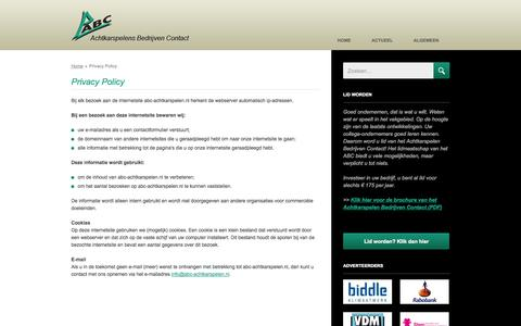 Screenshot of Privacy Page abc-achtkarspelen.nl - Privacy Policy - Achtkarspelens Bedrijven Contact (ABC) - captured Oct. 4, 2014