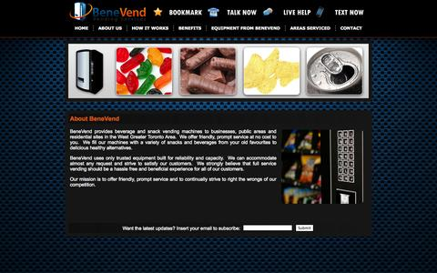 Screenshot of About Page benevend.ca - BeneVend - Snack Vending Machines Supplier Burlington Mississauga Hamilton Oakville - captured Oct. 5, 2014
