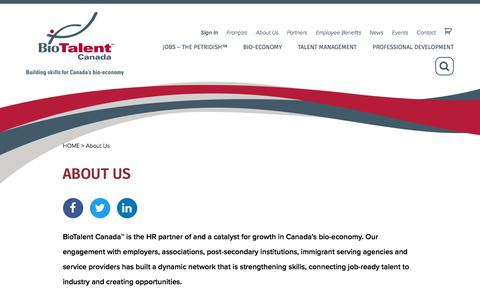 Screenshot of About Page biotalent.ca - About Us - BioTalent Canada - captured Dec. 2, 2019
