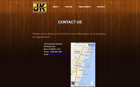 Screenshot of Contact Page jkconstructionnj.com - JK Construction Contact Information - captured Oct. 4, 2014