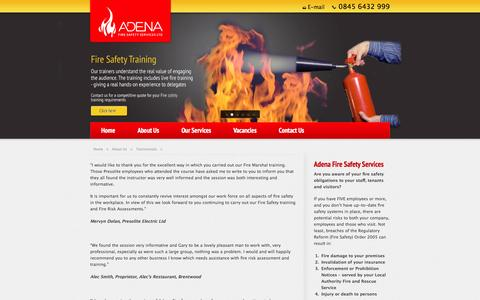 Screenshot of Testimonials Page adenafire.co.uk - Fire Safety Consultants, Fire Testing, Dry Riser Testing, Essex, UK - captured Feb. 5, 2016