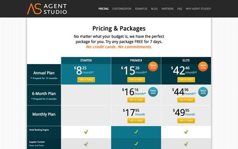 Screenshot of Pricing Page agentstudio.com - Agent Studio | Affordable Travel Agent Website Solutions - captured Sept. 19, 2014