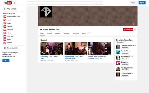 Screenshot of YouTube Page youtube.com - Adam's Basement  - YouTube - captured Oct. 23, 2014