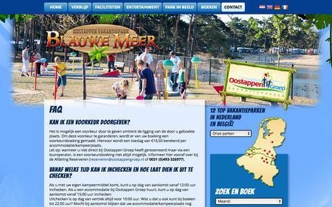 Screenshot of FAQ Page vakantieparkblauwemeer.be - FAQ | Vakantiepark Blauwemeer - captured Oct. 5, 2014