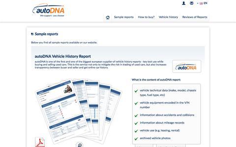 Screenshot of Products Page autodna.com - Sample reports - autoDNA - captured Jan. 23, 2017