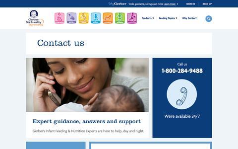 Screenshot of Contact Page gerber.com - Contact Us - captured Dec. 24, 2016