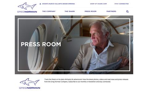 Screenshot of Press Page shark.com - Latest News - Greg Norman - Shark.com - captured Nov. 14, 2016