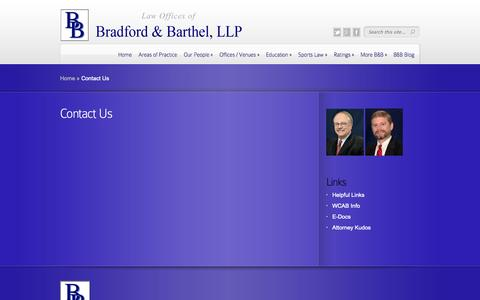 Screenshot of Contact Page bradfordbarthel.com - Contact Us | Law Offices of - captured Sept. 30, 2014