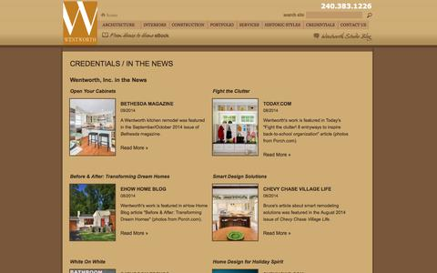 Screenshot of Press Page wentworthstudio.com - News Articles Featuring Wentworth Architecture, Remodeling & Design Projects | Wentworth Architecture & Design | Maryland (MD), Virginia (VA), Washington, DC - captured Sept. 19, 2014