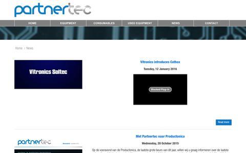 Screenshot of Press Page partnertec.nl - News - Partnertec BV - captured Jan. 26, 2016