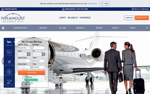Screenshot of Pricing Page paramountbusinessjets.com - Private Jet Charter - Hourly Rental Rates & Prices - captured July 15, 2018