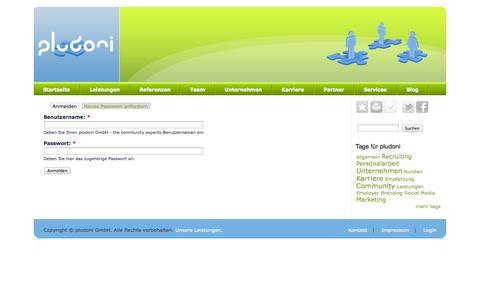 Screenshot of Login Page pludoni.de - Benutzerkonto | pludoni GmbH - the community experts - captured Oct. 4, 2014