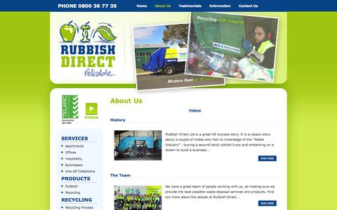 Screenshot of About Page rubbishdirect.co.nz - Waste disposal, management & recycling services in Auckland - Rubbish Direct - captured Oct. 7, 2014