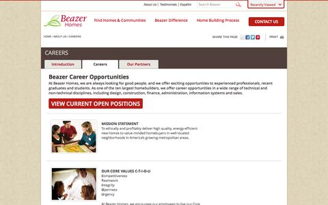 Screenshot of Jobs Page beazer.com - Beazer Career Opportunities | Beazer Homes - captured Sept. 19, 2014