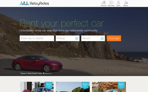 Screenshot of Home Page relayrides.com - Find a rental car or make money renting your car – RelayRides - captured Oct. 14, 2015