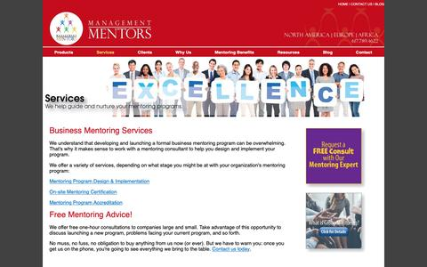 Screenshot of Services Page management-mentors.com - Business Mentoring Services - Talent Management Software - captured Oct. 2, 2018