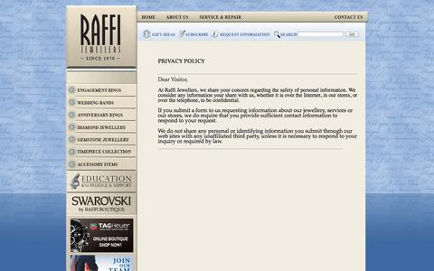 Screenshot of Privacy Page raffijewellers.ca - Privacy Policy - Welcome to Raffi Jewellers | Engagement Rings, Diamond Jewellery & Fine Watches | Diamond engagement rings, diamond jewellery, bridal jewellery, custom jewellery & watches.  Omega, TAG Heuer, MontBlanc Dealer. Contact us at (905) 337 - captured Oct. 7, 2014