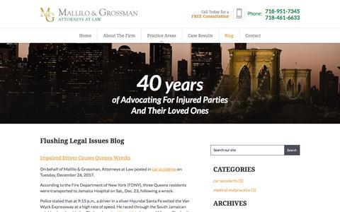 Screenshot of Blog malliloandgrossman.com - Flushing Legal Issues Blog | Mallilo & Grossman, Attorneys at Law - captured Jan. 26, 2018