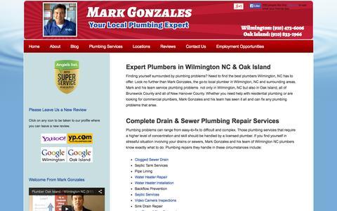 Screenshot of Home Page capefearplumber.com - Plumbers Wilmington NC   24 Hour Plumbers   Plumbers in Oak Island NC - captured Oct. 6, 2014