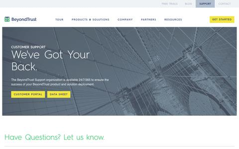 Screenshot of Support Page beyondtrust.com - BeyondTrust Customer Support - captured Sept. 12, 2016