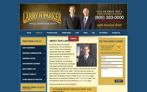 Screenshot of About Page larryhparker.com - About The Law Offices of Larry H. Parker - Larry H. Parker Biography Wiki - Los Angeles Personal Injury Lawyers - Phoenix Accident Attorneys - captured Sept. 18, 2014