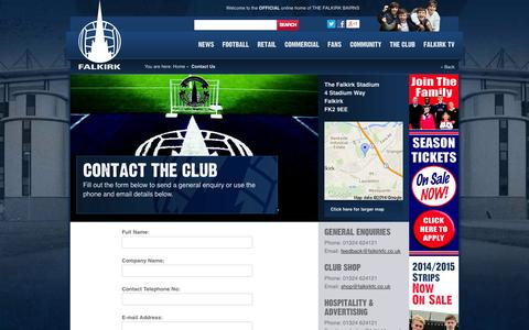 Screenshot of Contact Page falkirkfc.co.uk - Contact Us - captured Oct. 5, 2014