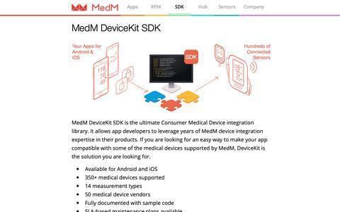 Screenshot of Developers Page medm.com - MedM — SDK - captured Oct. 19, 2018