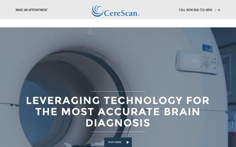 Screenshot of Home Page cerescan.com - Brain Scan Imaging | SPECT Scanning | Cerescan - captured Dec. 3, 2015