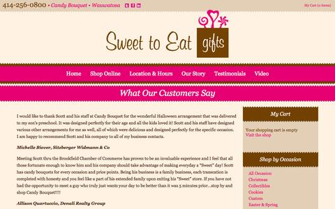Screenshot of Testimonials Page sweettoeatgifts.com - What Our Customers Say - captured Oct. 1, 2014