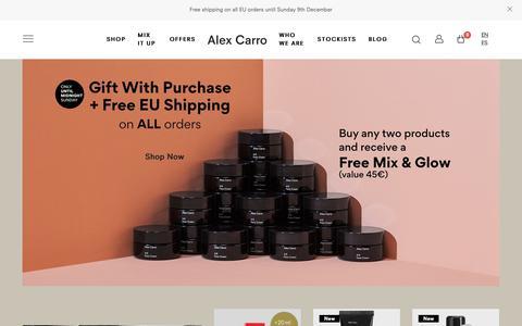 Screenshot of Home Page alexcarro.com - Unisex Natural Skin Care from Barcelona   Alex Carro – Alex Carro Skincare - captured Dec. 9, 2018