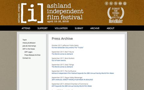 Screenshot of Press Page ashlandfilm.org - ashland independent film festival - AIFF in the News - captured Oct. 9, 2017