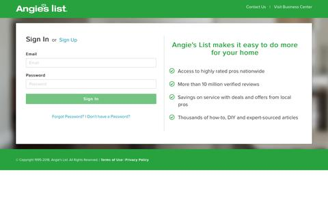 Screenshot of Login Page angieslist.com - Login - Angie's List - captured March 6, 2018