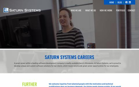 Screenshot of Jobs Page saturnsys.com - Software Development Careers   Saturn Systems - captured Nov. 28, 2018