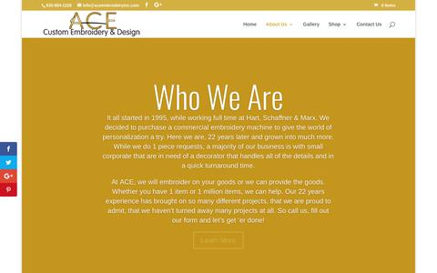 Screenshot of About Page aceembroideryinc.com - About Us - ACE Custom Embroidery & Design, Inc, - captured Oct. 6, 2017
