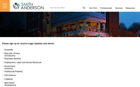 Screenshot of Signup Page smithlaw.com - Legal Updates & Alerts - captured Oct. 19, 2018