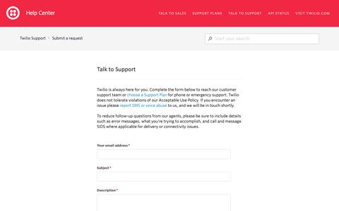 Screenshot of Support Page twilio.com - Submit a request – Twilio Support - captured June 13, 2019