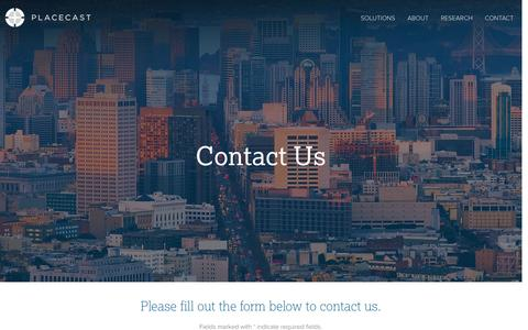 Screenshot of Contact Page placecast.net - Placecast :: Contact Us - captured Oct. 31, 2014