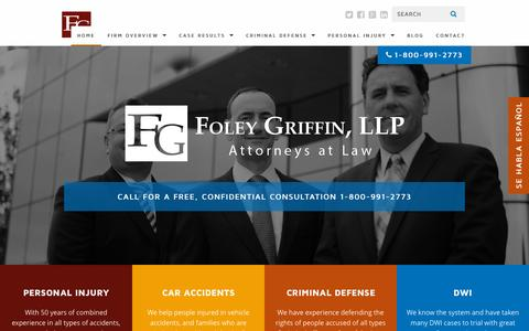 Screenshot of Home Page foleygriffin.com - Home - Foley Griffin, LLP - captured Sept. 11, 2015