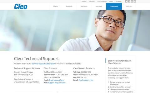 Screenshot of Support Page cleo.com - Cleo Technical Support - captured Sept. 13, 2014