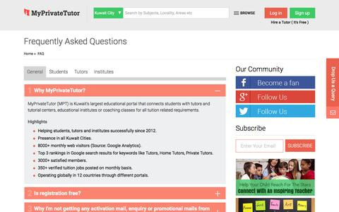 Screenshot of FAQ Page kuwaittutor.com - Frequently Asked Questions and Answers for Students, Tutors, Institutes - MyPrivateTutor: Kuwait - captured Jan. 20, 2016