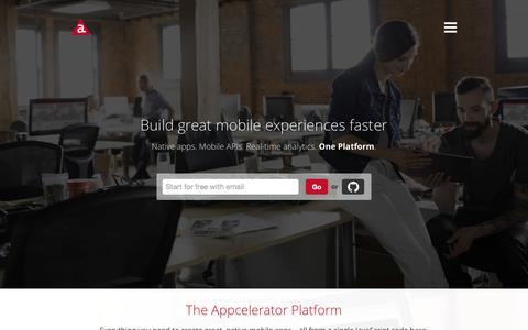 Screenshot of Home Page appcelerator.com - Mobile App Development Platform – Appcelerator - captured Sept. 16, 2015