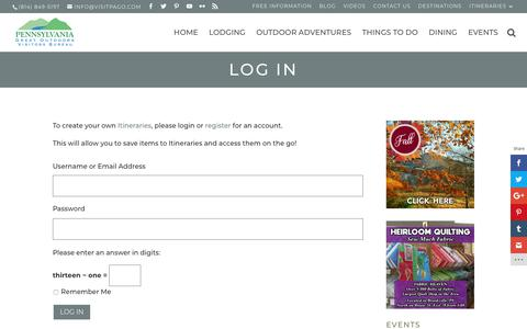 Screenshot of Login Page visitpago.com - Log In   Visiting the PA Great Outdoors - captured Sept. 27, 2018
