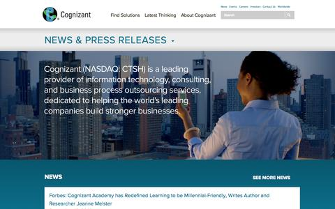 Screenshot of Press Page cognizant.com - Cognizant News & Events | Cognizant Press Releases - Cognizant Technology Solutions - captured Sept. 18, 2014