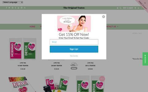 Screenshot of Products Page lyfetea.com - All – Lyfe Tea - captured Jan. 29, 2017